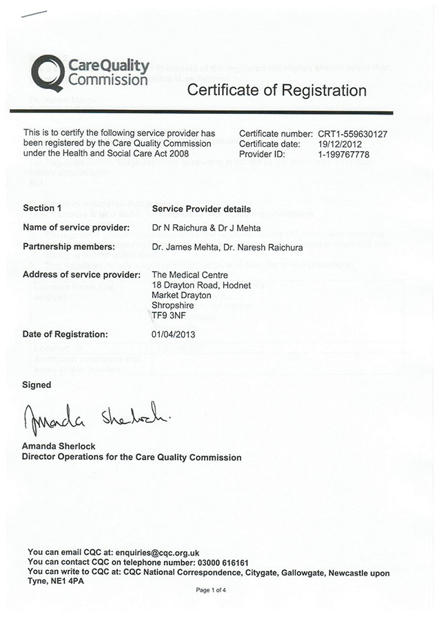 CQC Certificate of Registration